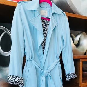 NWOT Zara Rain Coat in Baby Blue & Leopard Print